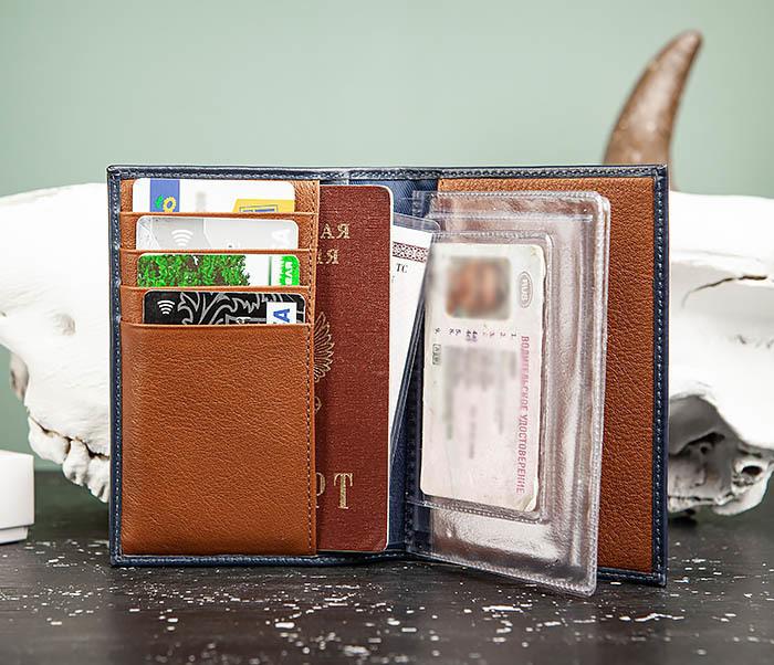BC217-3 Кожаная обложка для авто документов и карточек «Moriz», синяя фото 07