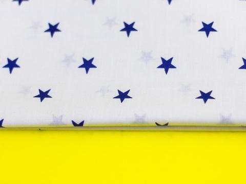 Тканина бавовна, Let's make відріз 30x40 см. Малюнок - сині зірочки на білому 310682169