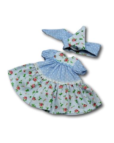 Платье горох и цветы - Голубой. Одежда для кукол, пупсов и мягких игрушек.