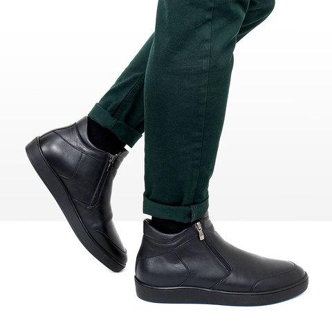 Мужские ботинки на молнии с подкладкой из натурального меха