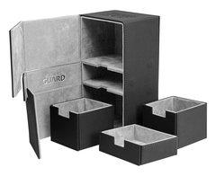 Ultimate Guard - Двойная кожаная черная коробочка с отделением для кубиков на 160 карт