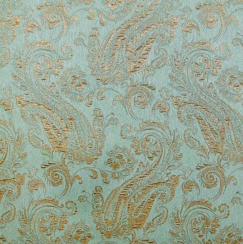 Портьерная ткань жаккард с рисунком Беатрис бирюзовый