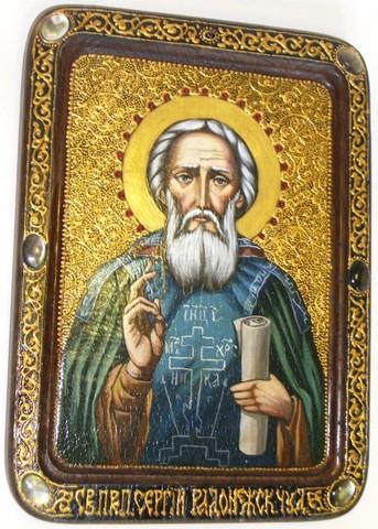 Инкрустированная живописная икона Преподобный Сергий Радонежский чудотворец 29х21см на натуральном кипарисе в подарочной коробке