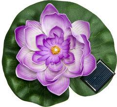 Светильник садово-парковый на воду на солнечной батарее «Кувшинка» сиреневый, 1 RGB LED, 170*170*60мм, PL263 (Feron)