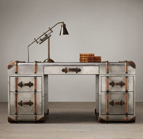 Richards' Trunk Desk - Polished Aluminum