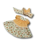 Платье горох и цветы - Персик. Одежда для кукол, пупсов и мягких игрушек.