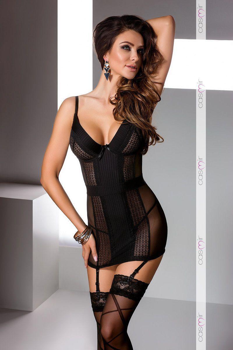 БОЛЬШИЕ размеры: Облегающая сорочка Harriet с полупрозрачными вставками