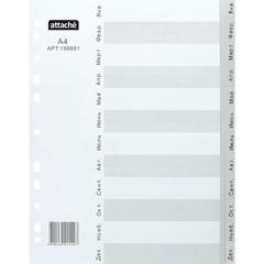 Разделитель листов из сер.пласт. Attache, А4, 12 разделов, янв-декабрь