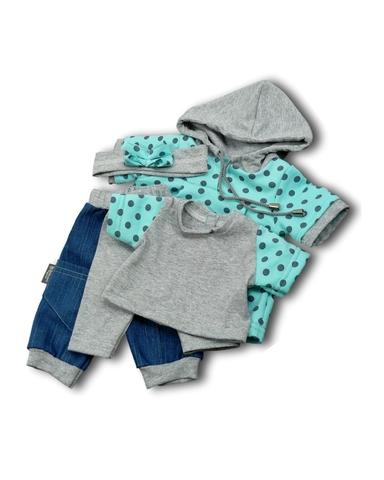 Большой  комплект (с платьем-туникой) - Мята. Одежда для кукол, пупсов и мягких игрушек.