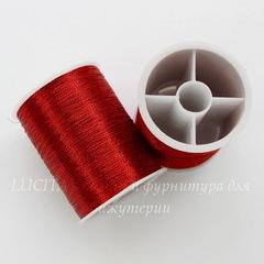 Нить металлизированная для вышивки бисером, 0,1 мм, цвет - красный, примерно 55 м