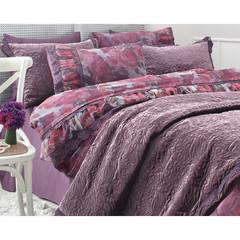Набор КПБ с покрывалом +полотенце EBRU фиолетовый Gelin Home  евро
