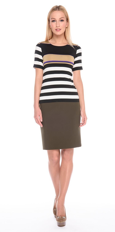 Юбка Б066-163 - Прямая классическая юбка прекрасно сочетается с любым верхом, подойдет как для офиса так и для повседневной жизни.