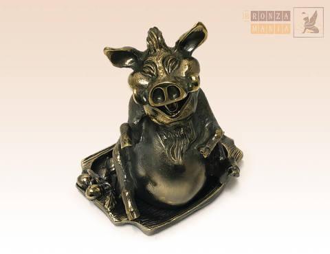 статуэтка Кабан на подносе с желудями