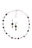 Комплект Arlecchino Cubo серебристый (серьги, ожерелье)
