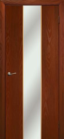 Дверь Дубрава Сибирь Гранд, зеркало с рисунком/молдинг золото, цвет итальянский орех, остекленная