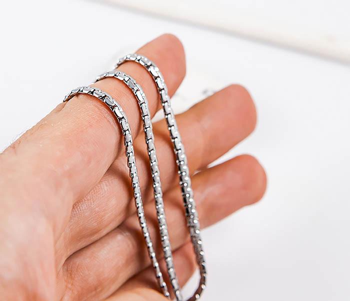 SSNH-0311-03 Плоская стальная цепочка «Spikes» оригинального плетения (55 см) фото 05