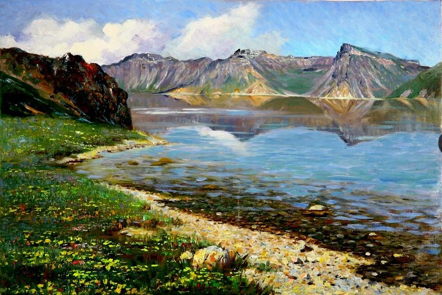 Картина раскраска по номерам 40x50 Озеро в горах– купить в ...