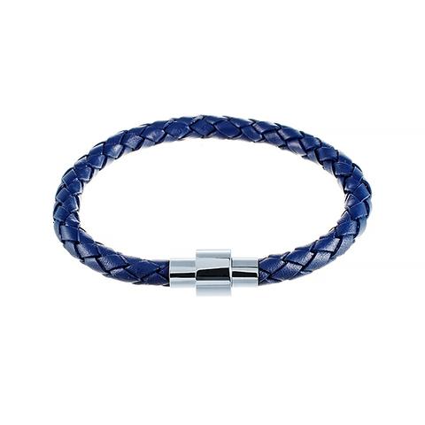 Кожаный синий браслет JV 232-0056