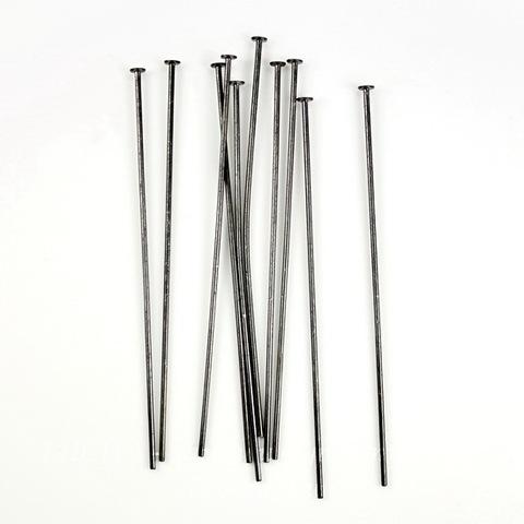 Винтажные пины - гвоздики 51х0,7 мм (цвет - черный никель), 10 штук ()