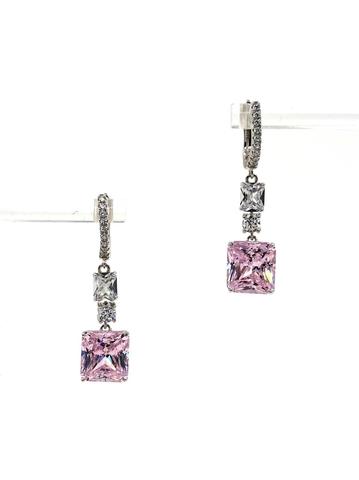 Серьги из серебра с розовым кварцем в стиле Graff