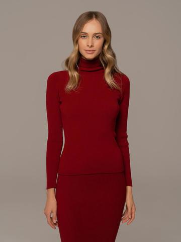Женский свитер красного цвета из 100% шерсти - фото 1