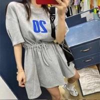 Трикотажное платье с утяжками, серый