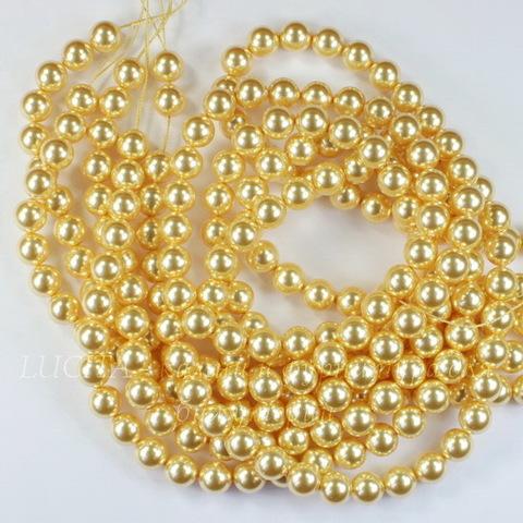 5810 Хрустальный жемчуг Сваровски Crystal Gold круглый 6 мм, 5 шт