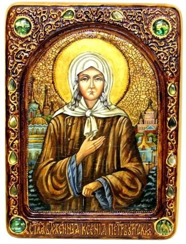 Инкрустированная живописная икона Святая Блаженная Ксения Петербургская 29х21см на натуральном кипарисе в подарочной коробке