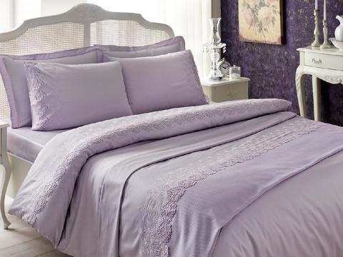 Постельное белье NOVA CIFT лиловый с кружевом deluxe TIVOLYO HOME Турция