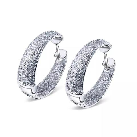 Серьги кольца из серебра с цирконами в стиле  De Grisogono