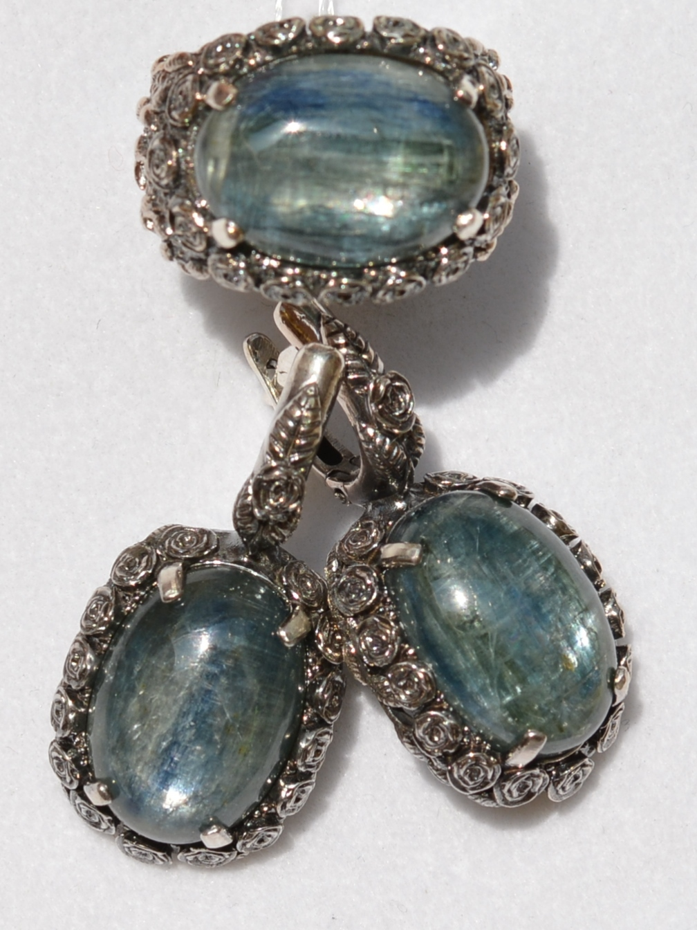 Вельса-кианит(кольцо + серьги из серебра)