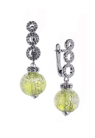 Серьги из муранского стекла со стразами Sandra Ca'D'oro Emerald Silver CC020OB