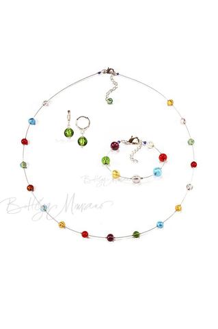 Комплект Estate серебристый (серьги зеленые Piccolo, ожерелье длинное, браслет)
