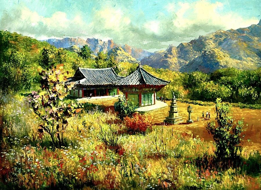 Картина раскраска по номерам 40x50 Китайские домики ...