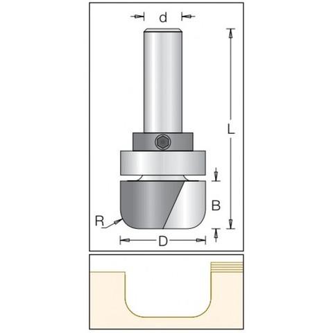 Фреза радиусная с плоским дном и с  подшипником Dimar 1062699 D28,6x16 L67