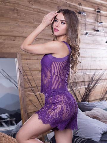 Комплект кружевной с шортами MIA-MIA Lolita Лолита 17466 фиолетовый