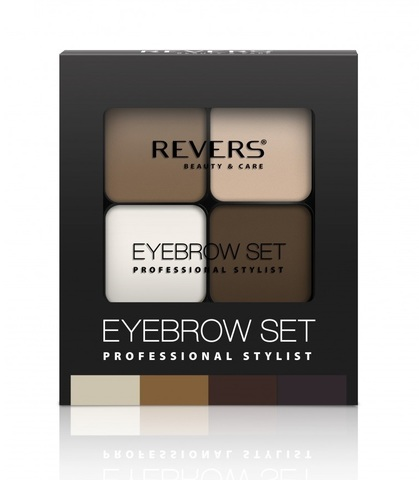 REVERS Тени для бровей 18г EYE BROW SET PROFESSIONAL STYLIST №01 (*3)корич,песоч,т-корич,воск