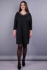 Берта. Нарядное платье plus size для женщин. Графит серый.