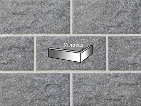 Stroeher - KS06 grau, Kerabig, glasiert, глазурованная, угловая, 221x71x148x12 - Клинкерная плитка для фасада и цоколя