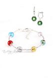 Комплект Carnavale Argento (зеленые серьги на серебре, браслет)