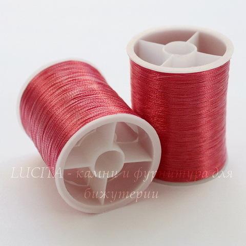 Нить металлизированная для вышивки бисером, 0,1 мм, цвет - малиновый, примерно 55 м