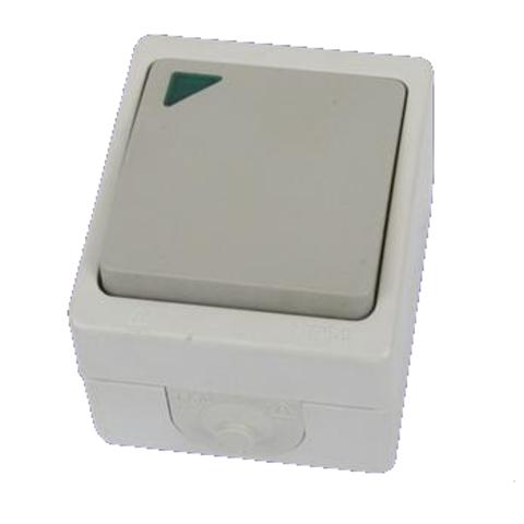 Переключатель на 2 направления 1-кл. с подсветкой открытой установки IP54 10А