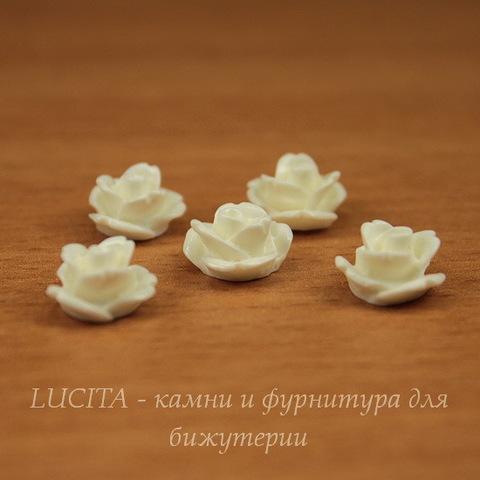 """Кабошон акриловый """"Розочка"""", цвет - белый, 10 мм, 5 штук"""