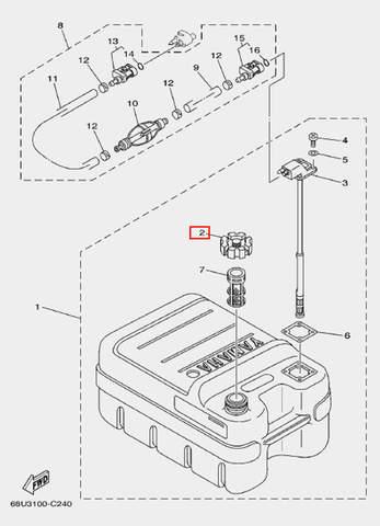 Крышка бака 24л. для лодочного мотора F20 Sea-PRO (25-2)