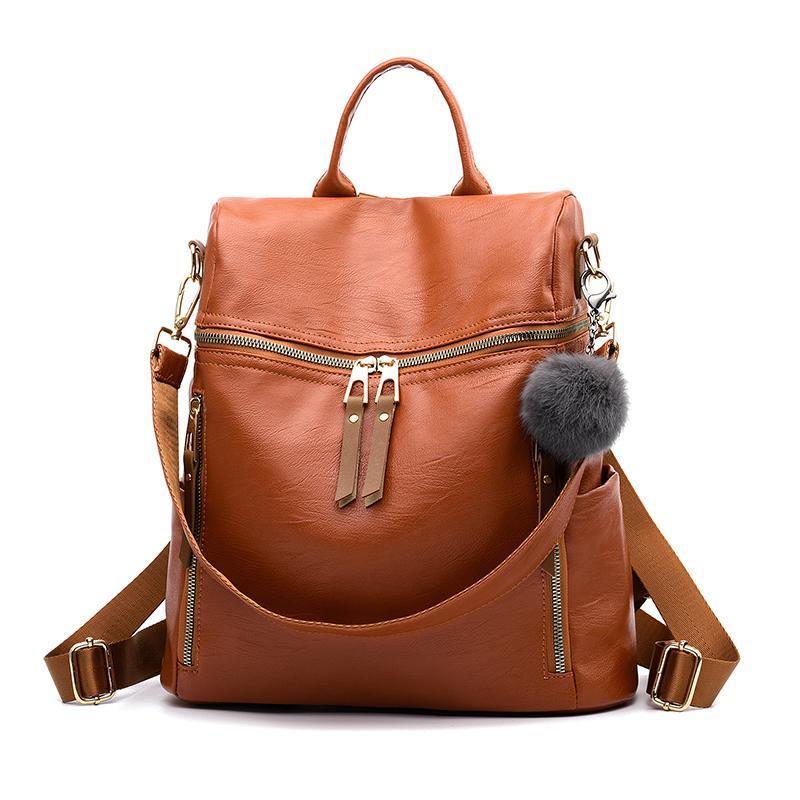 Женский средний рюкзак 35х32х15 см рыжий 4176-2 (без брелка)