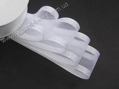 Лента органза с атласными краями в косую полосу белая 38 мм