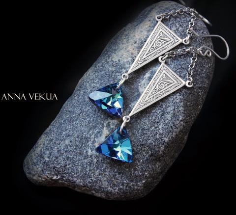 """6628 Подвеска Сваровски Треугольник Crystal Bermuda Blue (12 мм) (Серьги """"Треугольники"""". Пример)"""