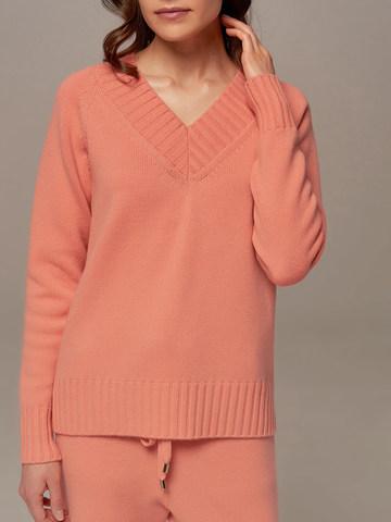 Женский джемпер кораллового цвета из шерсти и кашемира - фото 4