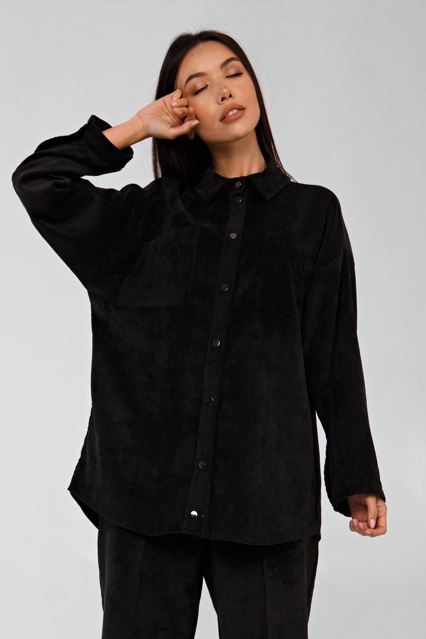 Вельветовая рубашка в рубчик графитовая YOS
