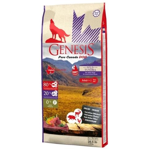 Genesis Pure Canada Wild Tundra Soft с повышенной влажностью для взрослых собак всех пород с мясом дикого кабана, северного оленя и курицы 11.79 кг